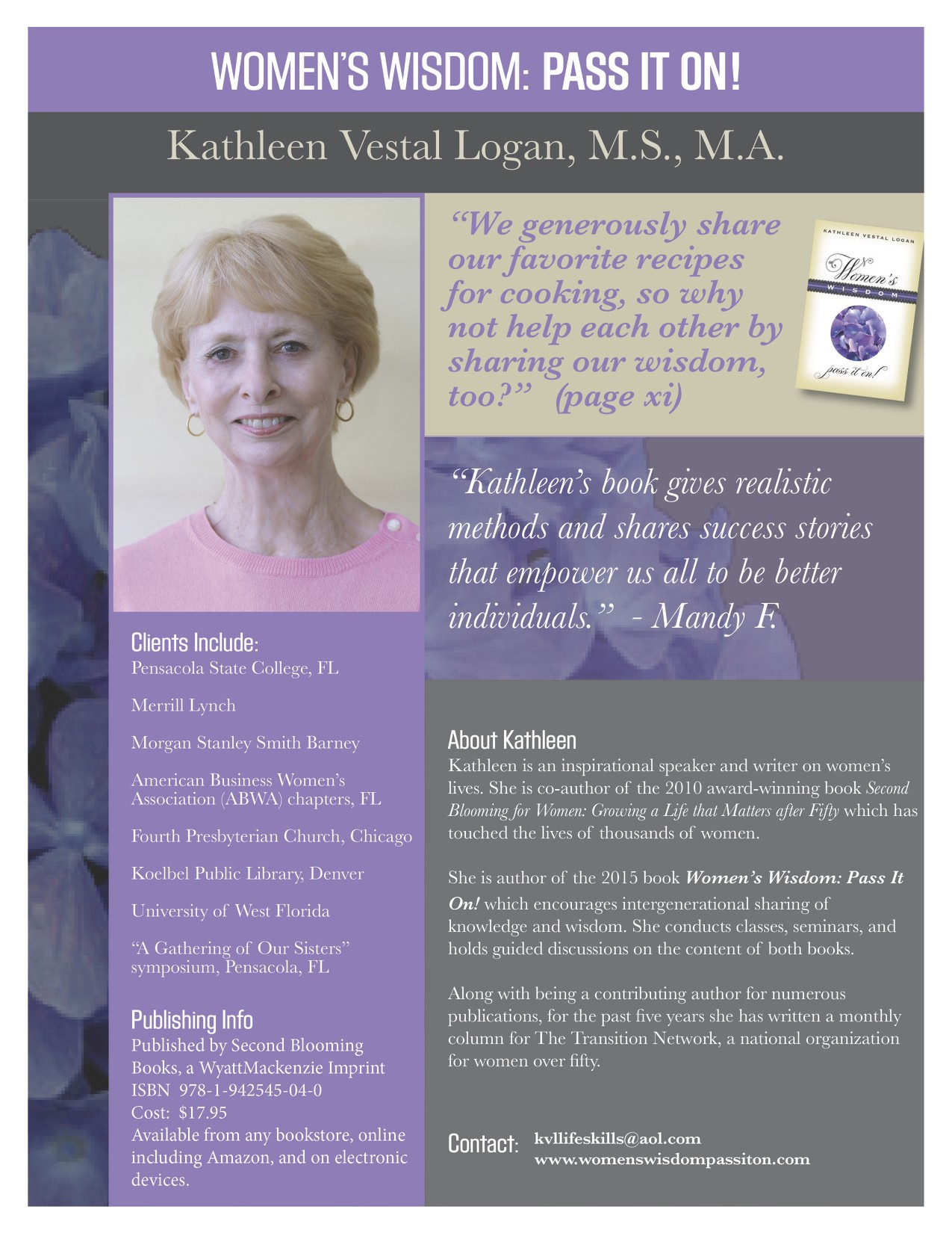 Kathleen Vestal Logan One Sheet